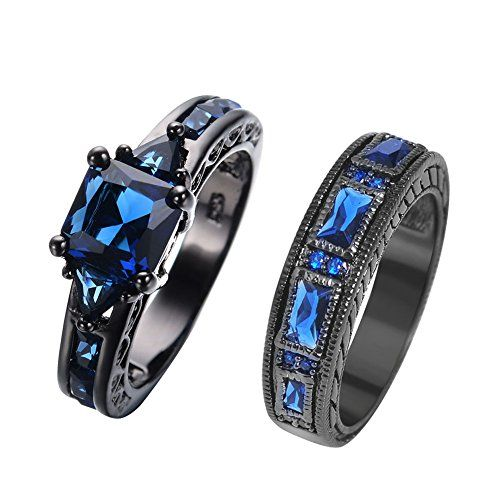 RongXing Jewelry New Sapphire Diamond Set Ring,14KT Black Gold Wedding Rings size7	by Rongxing Jewelry