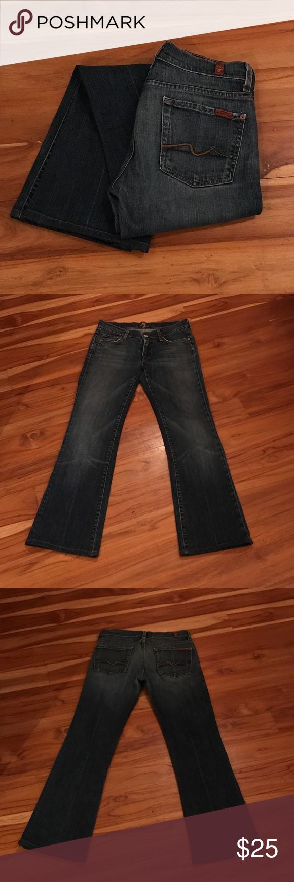 "7FAM jeans sz 28/29 These are your classic sevens jeans! The inseam is 29"" and there is some pore pilling near the back pockets. Hems are in perfect condition! 7 For All Mankind Jeans Boot Cut"