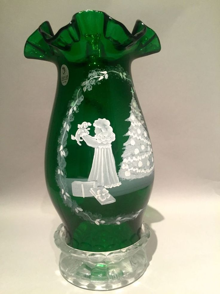 Fenton Mary Gregory Hurricane Candle Lamp Green Trimming