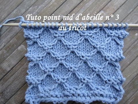 TUTO POINT NID ABEILLE 3 TRICOT RELIEF Honeycomb stitch knitting PUNTO PANAL DE ABEJAS DOS AGUJAS - YouTube