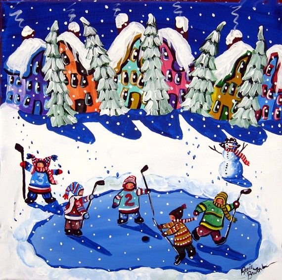 Little Hockey Players Ice Skaters Whimsical by reniebritenbucher