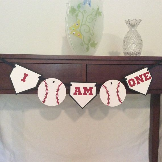 Baseball theme I Am One High Chair banner - Baseball theme Birthday Party - 1st Birthday - First Birthday - I am One banner - laser cut on Etsy, $10.00