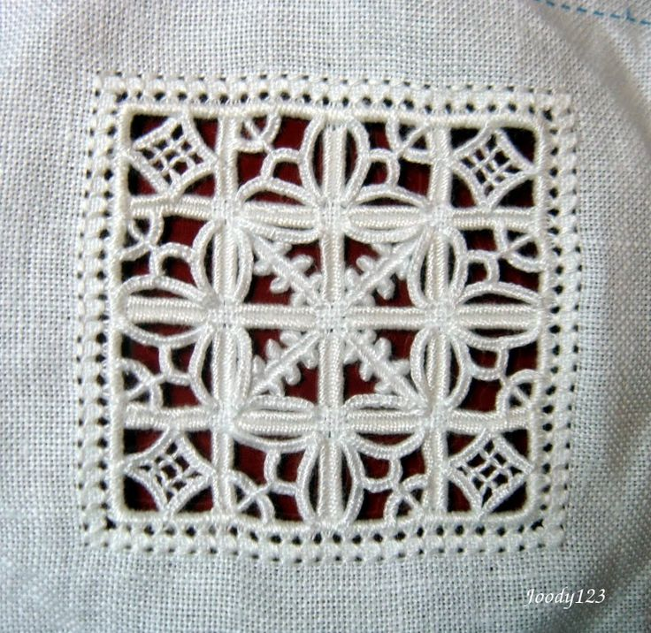 Whitework Embroidery ~ Reticello panel embroidered by Joody123