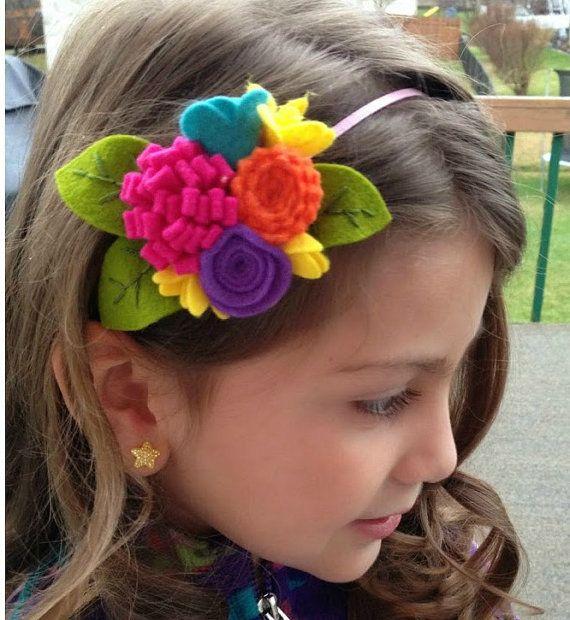 Felt Flower Headband Bright Rainbow Felt Flower by CuriousBloom
