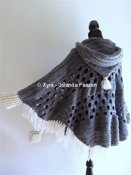****CROCHET-PATTERN**** (English-US & Dutch)  The poncho is crocheted with Royal, with crochet hook no. 6 (Dutch size).  It is approx. 66 cm (height) * 148 cm (width).  The poncho has sleeves and a large pointy hood.  Necessities:  Royal gray* – approx. 525 grams = approx. 1265,25 meters - 1384,18 yards  Royal creme* – approx. 32 grams = approx. 77,12 meters - 84,37 yards Fringes: Royal creme* – approx. 37 grams = approx. 89,17 meters - 97,55 yards  *Royal is yarn suitable for hook no. 4 – 5…