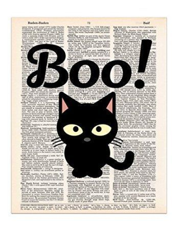 Black Cat Says Boo Halloween Decoration, Dictionary Page Art Print, 8x11 UNFRAMED Despite the folklore and superstition around black cats I absolutely love them. Year around but especially on Halloween. This is why I love to use creepy, spooky and wicked Halloween black cat home décor. You will find all kinds of creepy kitty cat decorative accents from black accent pillows to inflatable black cats to even some cute black and cat and witch décor.