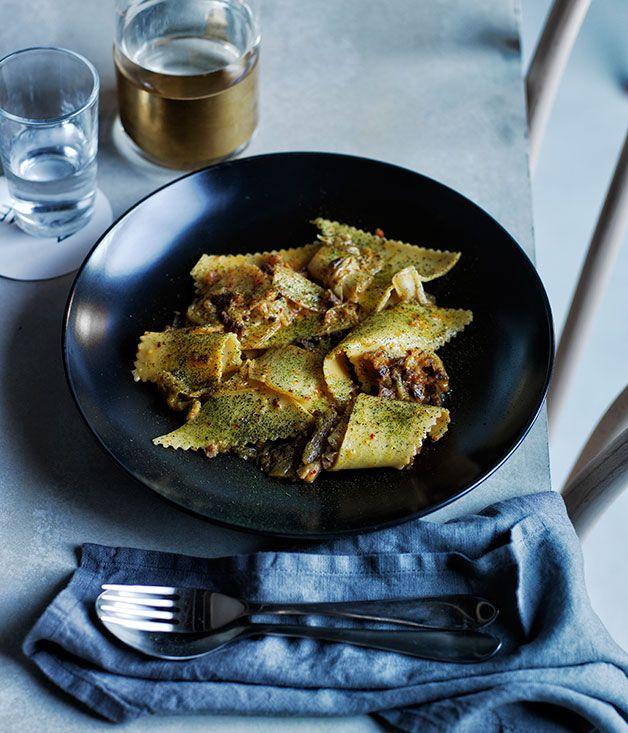 Maltagliati with washed kimchi and guanciale :: Gourmet Traveller Magazine Mobile #guanciale #recipe #pasta #food #ricetta #charcuterie #salumi