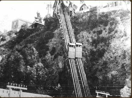 Ascensor C° Concepción -- 1ra. versión, contrapeso de agua  --  (1883-1889)     --   Ascensores de Valparaíso.org.