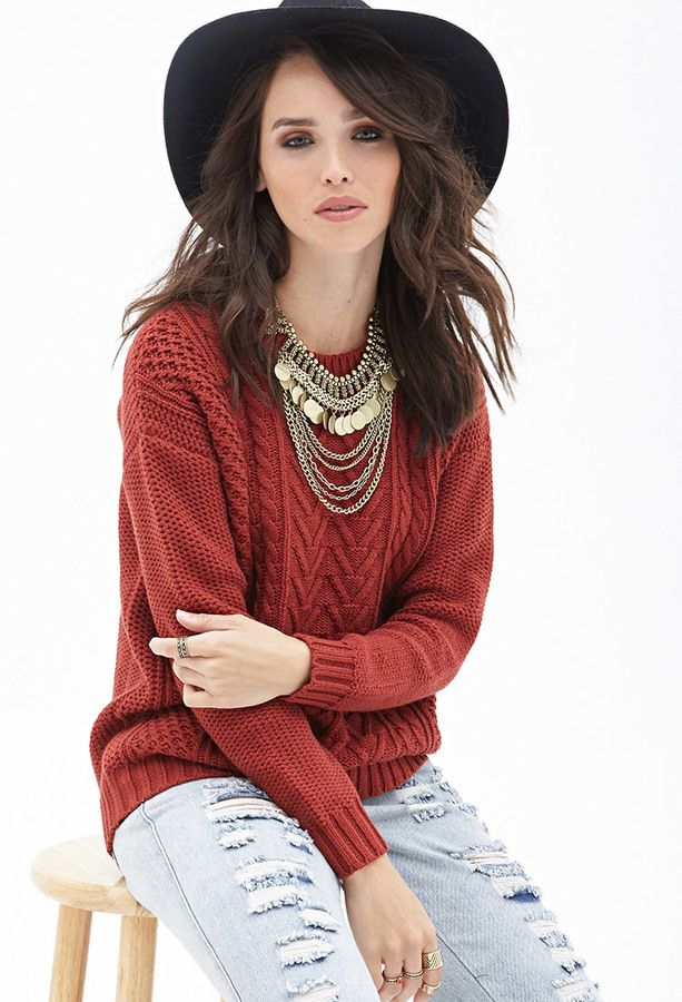 Forever 21 Mixed Knit Sweater on shopstyle.com