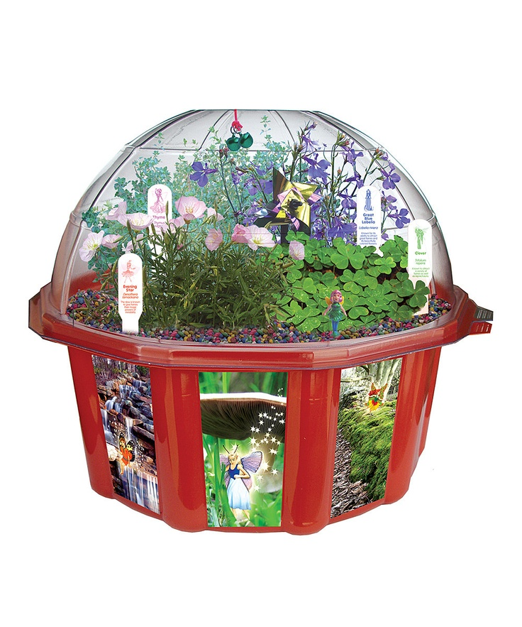 Fairy Triad Kit    Includes sprouting and growing dome, four seed packs, fairy, fairy planting mixture, fairy pinwheel, two fairy bells and string, four fairy plant stakes, rainbow fairy gravel, perlite drainage pellets and instructions  9.4'' W x 9.3'' H x 4.8'' D