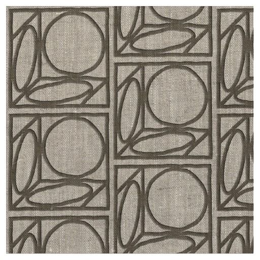 Craftsman Optical Illusion (Ash Brown) Repeating design on this custom-made fabric was adapted from a late 1890's Arts & Crafts pattern from the Roycroft Colony's tile makers. An optical illusion, it looks alternately like a simple flower or a 3-D illusion of a circle pasted on each side of a cube, shown in perspective. Ash Brown wireframe faux applique appearance on natural, unbleached linen. Perfect for summer-weight dress & jacket, and much more. #artsandcraftspattern_fabric…