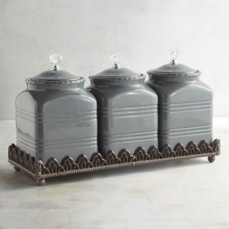 Ceramic Canister Set With Base Gray