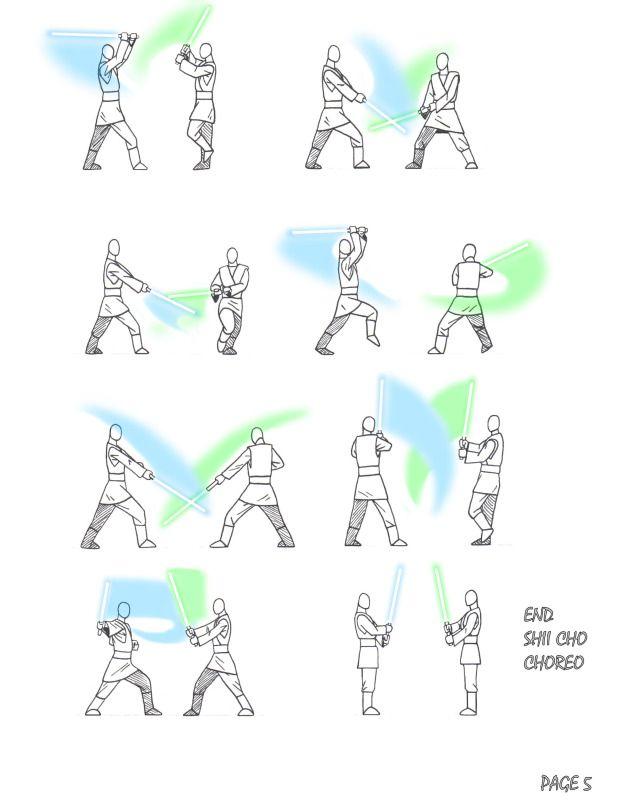 lightsaber movements.