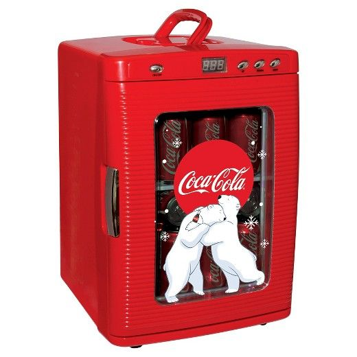 Keep your beverages cold with the Koolatron Coca Cola fridge with thermoelectric cooling. You can use it at home or take it with you in the car or boat. It comes with an AC adaptor, but you can power it using your vehicle's cigarette lighter socket too. Plus, this fridge comes with a 12 V power cord. The portable refrigerator has a capacity of 7 liters and can hold up to 9 12-ounce cans. Its sliding removable shelf allows easy access to contents stored inside. This Coca-Cola mini frid...