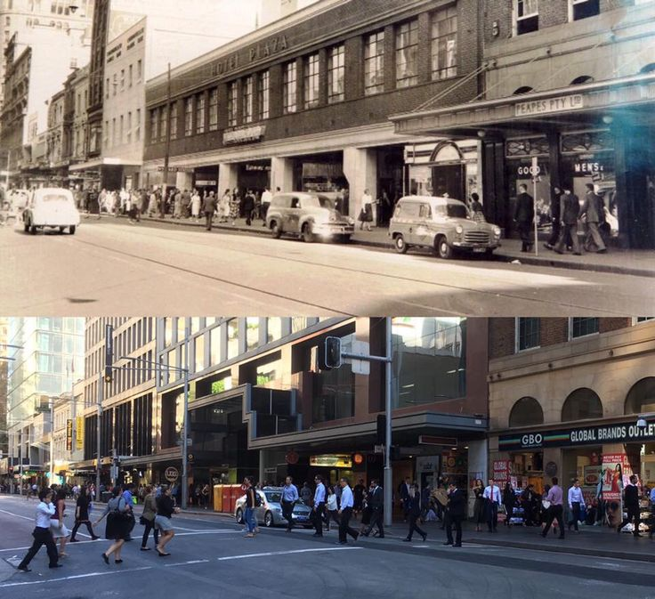 George Street, Sydney, looking south west from the corner of Hunter Street towards the entrance to Wynyard Station in 1960 and in 2016. Sydney City Archives > Phil Harvey. By Phil Harvey]