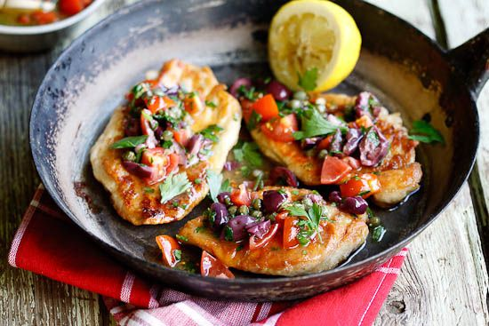 Chicken Escalopes with olive, caper & tomato dressingOlive Oil, Olive Capers, Tomatoes Dresses, Yummy Food, Food Yummy, Chicken Escalope, Favorite Recipe, Fast Dinner, Chicken Breast