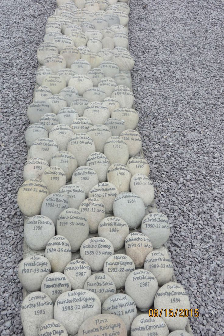 Rocks with names of victims of terrorism inscribed on them, El Ojo Que Llora, Lima, Peru.