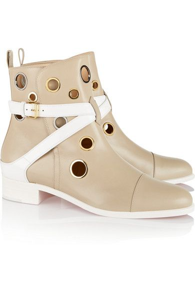 The ultimate bootie for Spring in these neutral & white with circle cut-outs beauties by Christian Louboutin #Luxe #Fashion #Shoes #Style