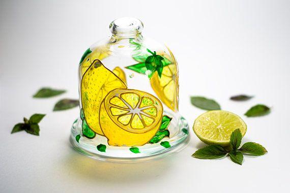 Lemon holder Kitchen container Covered butter server Glass