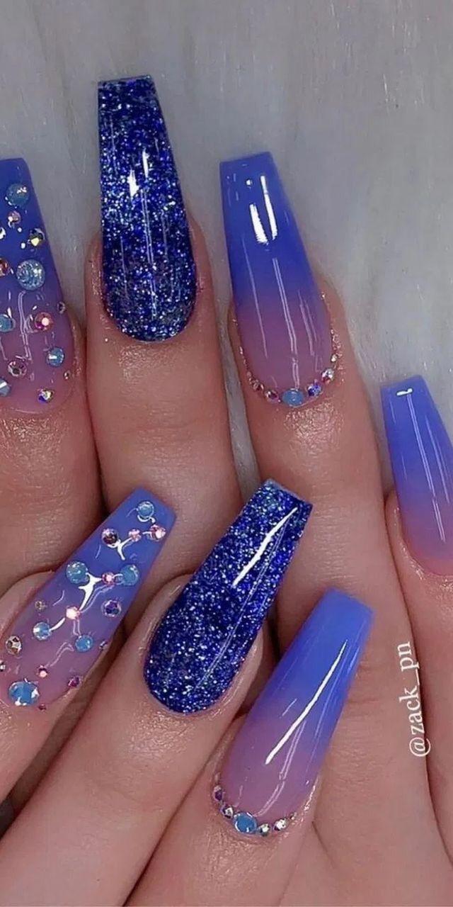 Blue Nailart Aesthetic In 2020 Stylish Nails Designs Blue Acrylic Nails Best Acrylic Nails