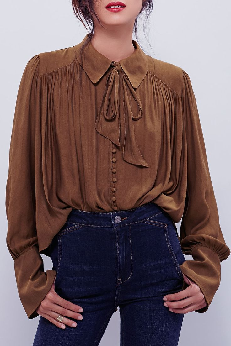 Modern Muse Tie Front Top COFFEE: Blouses | ZAFUL