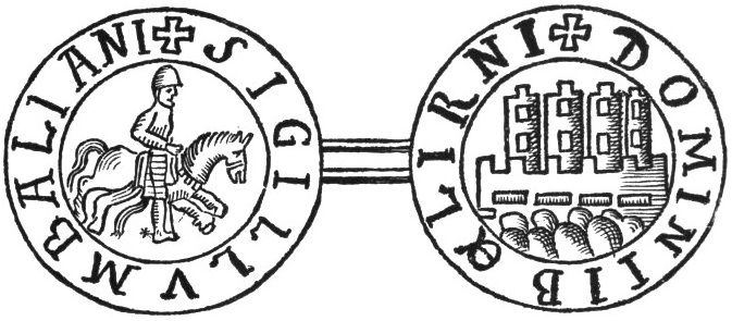 (Seal of Balian of Ibelin) - Balian of Ibelin first enters the historical record when he is mentioned along with his elder brother, Baldwin of Ramlah, as playing a decisive role in the important Christian victory at Montgisard in 1177.