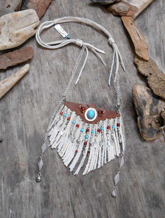 """Necklace """"NATIVE AMERICAN Thunderbird Inspired"""" Togo Leather, Cow leather, Turquoise Cabochon, Ambre, Silvered apprêts, Agate beads"""