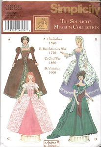 Simplicity Patterns  Pattern Number 8118  Copyright: Modern    Barbie Sized Historic Dresses for 11.5 Inch Doll Patterns    Elizabethan | Revolutionary War | Civil War | Victorian