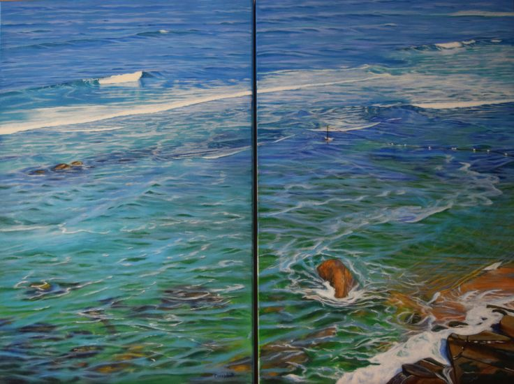 SOLD - Acrylic Diptych on deep-sided stretched canvas by Carole Elliott #art #australianart #acrylic #carolelliott7 #seascape #newcastle #beach #ocean