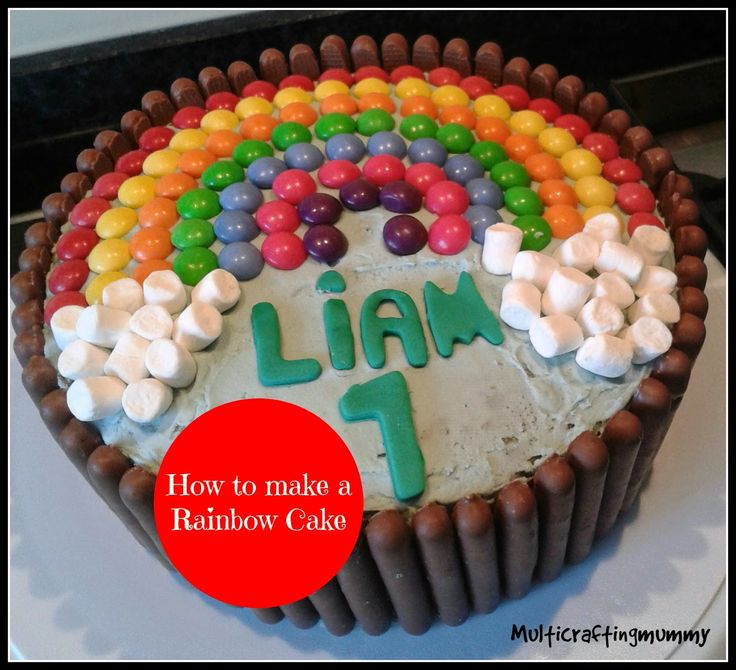 multicraftingmummy: How to make a Rainbow Birthday Cake with skittles, marshmallows and chocolate fingers