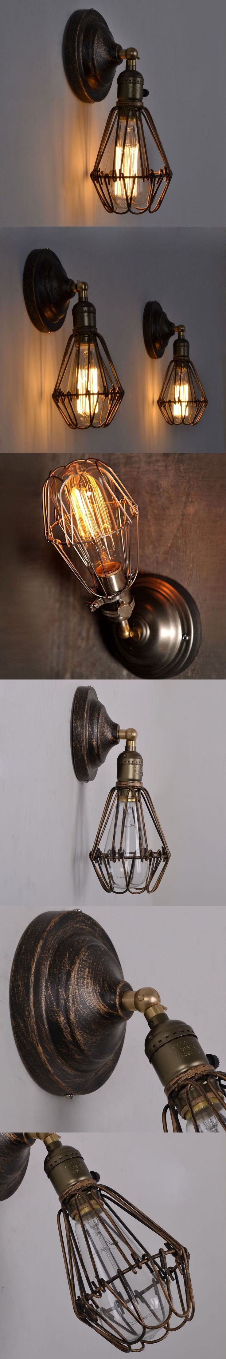 Rustic Wall Lamp Industrial Sconce Loft Light Fixtures Vintage Home Lighting Decor Led Bulb Cage Luminaire Lustre Bedroom Lights $60.09
