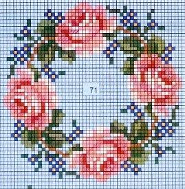 Cross-stitch Roses biscornu ... no color chart available, just use the pattern chart as your color guide.. or choose your own colors...