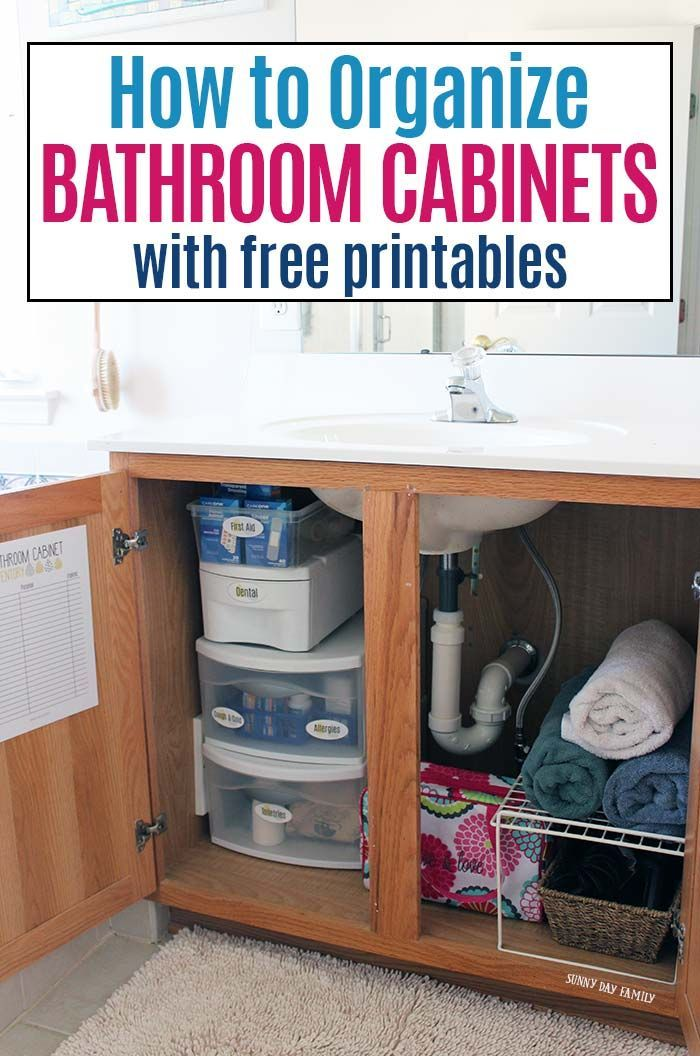 How to Organize Bathroom Cabinets with Free Printables Kids and