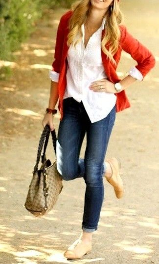 Women's White Dress Shirt, Red Blazer, Brown Check Leather Tote Bag, Navy Skinny Jeans, and Tan Leather Oxford Shoes