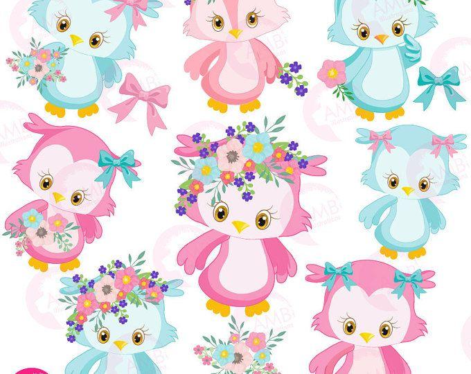 Búho Imágenes Prediseñadas, lindo buho, niña búho Imágenes Prediseñadas, prediseñadas de buho, rosa búho Imágenes Prediseñadas, buho girlie iconos, clipart floral, AMB-1392