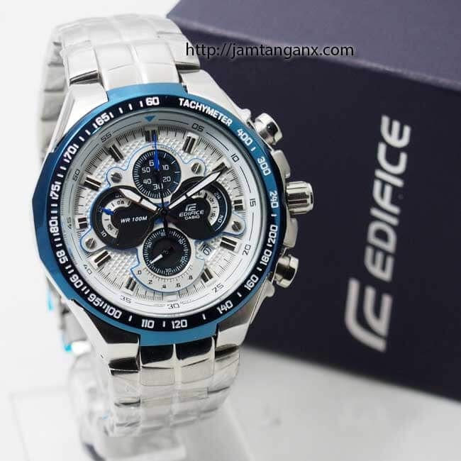 jam tangan edifice EF-554 Silver Biru