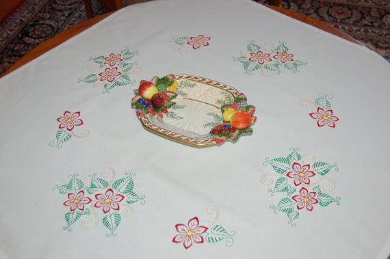 Christmas square tablecloth with embroidered vintage by embrant 30