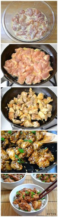 Easy Sesame Chicken- I made this tonight and it was amazing! Esp if u want Chinese and don't want to pay for $$ takeout. Will make again