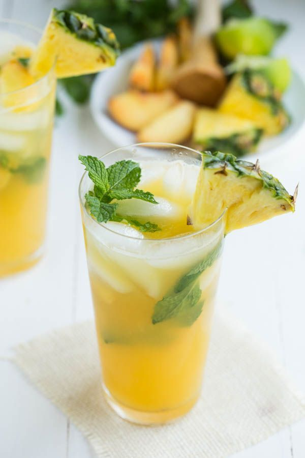 Pineapple Peach Mojito is a refreshing drink made with fresh pineapple ...