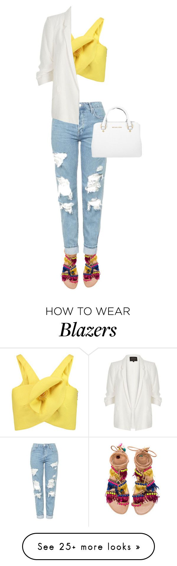 """""""Untitled #1692"""" by ayushaanand on Polyvore featuring Elina Linardaki, Topshop, Delpozo, River Island and Michael Kors"""