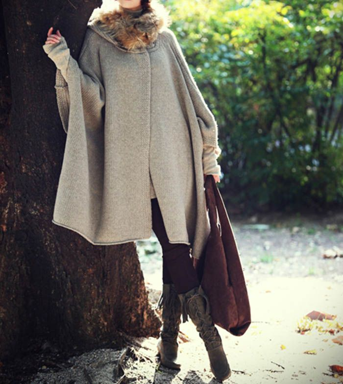 $65 For Sale, Casual Loose-Fitting Batwing Sleeve Cape Design Women's Hooded Cardigan. Cape, Poncho, poncho sweater. Shawn Shops FB www.facebook.com/ShawnShops