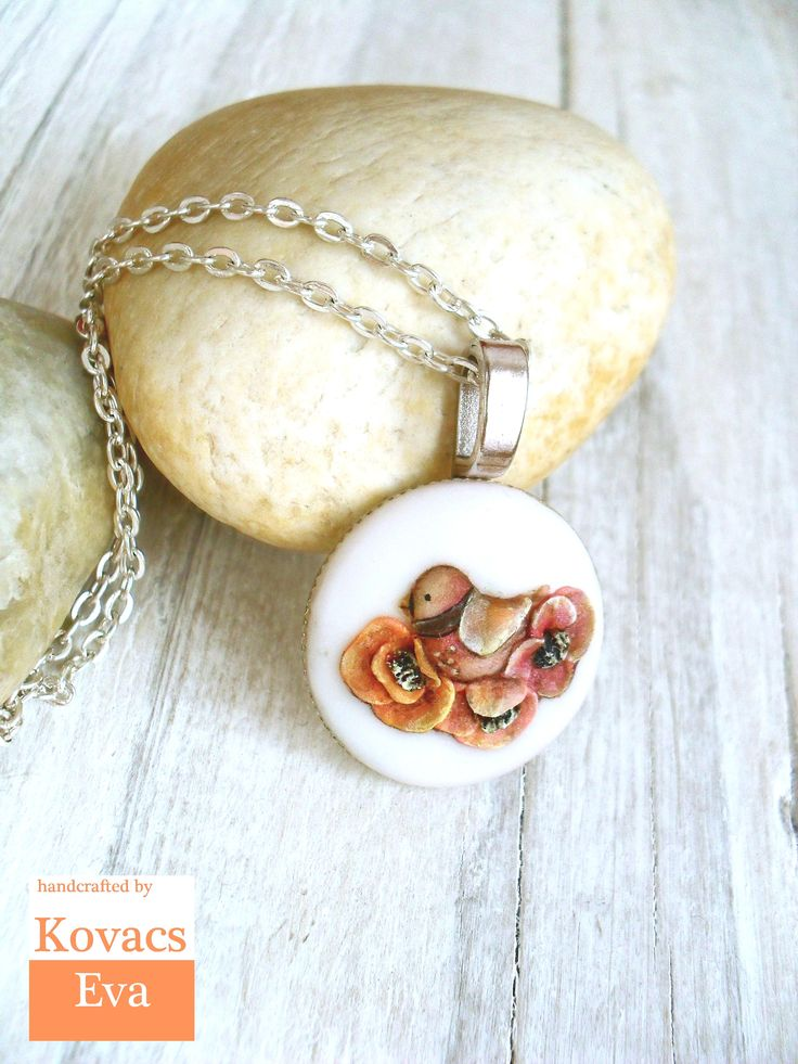 Bird pendant.Bird necklace.Flowers with bird necklace.Handmade 3D porcelain pendant.Woodland jewelry.