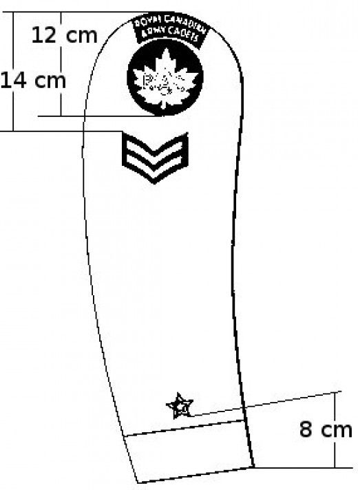 The right arm badge placement for Canadian Army Cadet Badges.