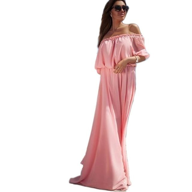 Nouveau Femmes de Solide En Mousseline de Soie Boho Long Beach Robe Sexy Off Épaule Elegent Robes de Soirée