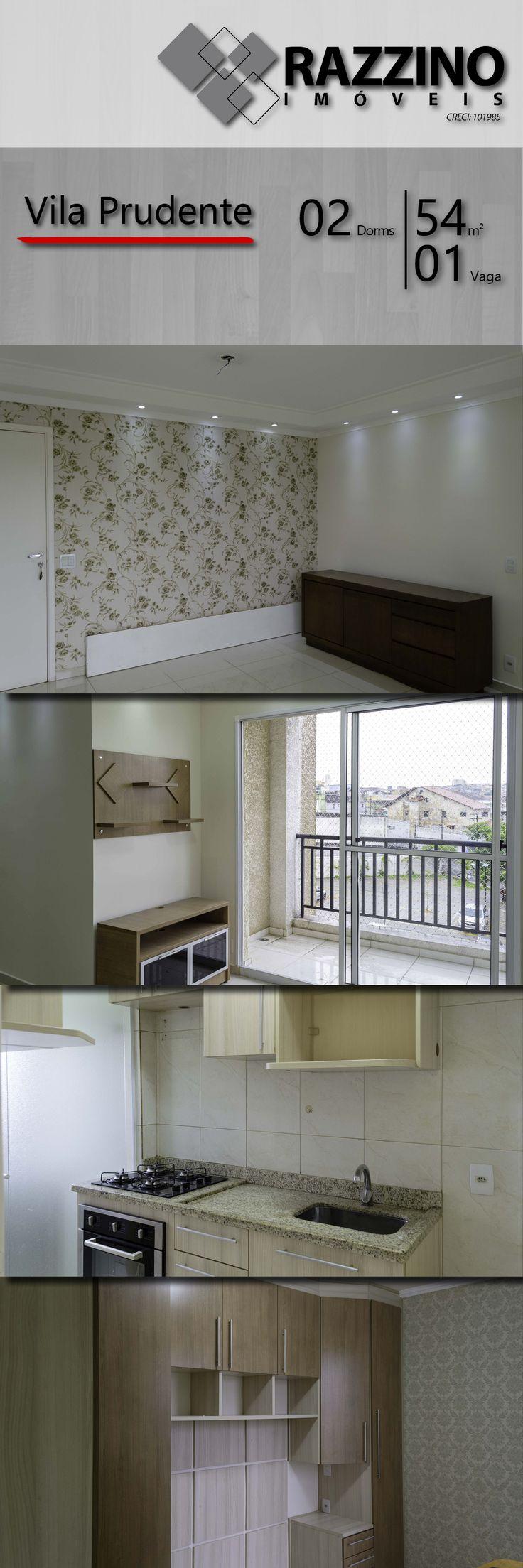 Imóvel de 54 m², 02 dormitórios e 01 vaga de garagem, localizado no bairro da Vila Prudente, Zona Leste de São Paulo. Possui moveis planejados na sala, cozinha e dormitório do cssal.