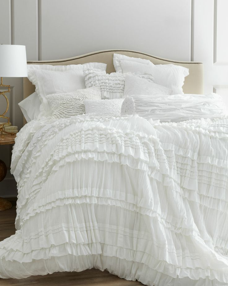 """""""Flores"""" Bed Linens - Neiman Marcus - BLUE -  Crystal Trevino: We indicate that the Duvet Cover, the Throw, 2 Standard Sham, and 3 Decorative Pillows are included. $920 Soup Home Bundle"""