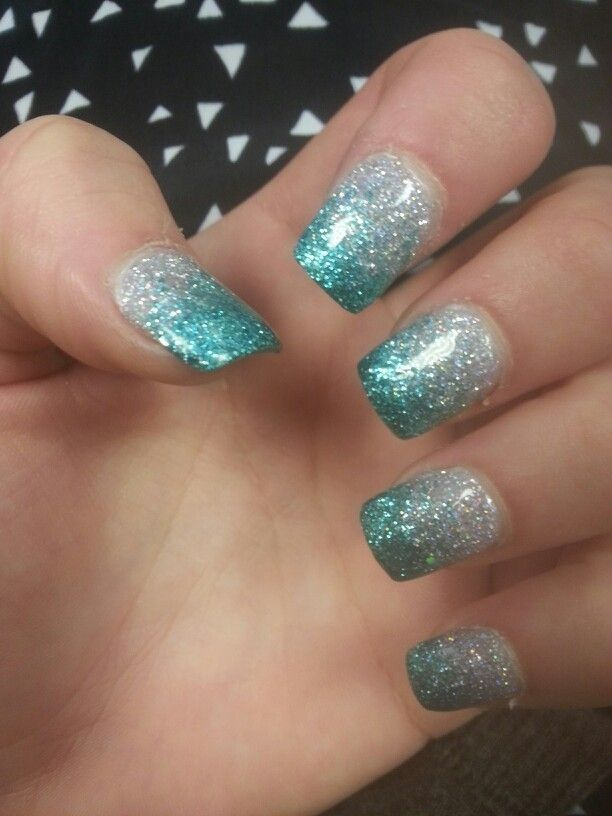 Acrylic nails, teal-ish, grey sparkle lining, French tips, cute from QT nail salon   My style