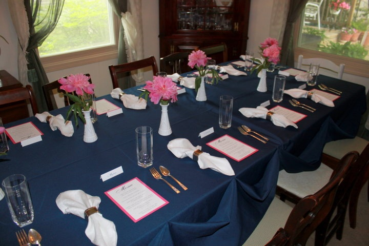 Photo from my own garden wedding shower - stuck to the navy & pink theme!