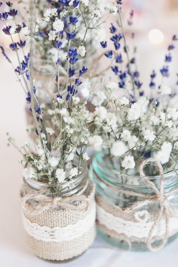 Pretty Pink Country Seaside Wedding Jar Lavender Gypsophila Baby Breath Flowers Tables Centrepiece http://www.cristinarossi.co.uk/