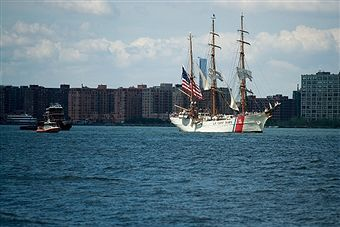 The U.S. Coast Guard Cutter Eagle makes it way along the Hudson River before docking next to the Intrepid Air and Space Museum, August 4, 2016 in New York City. Thursday is National U.S. Coast Guard Day in the United States. On this day 226 years ago, Alexander Hamilton requested Congress to create the U.S. Coast Guard.